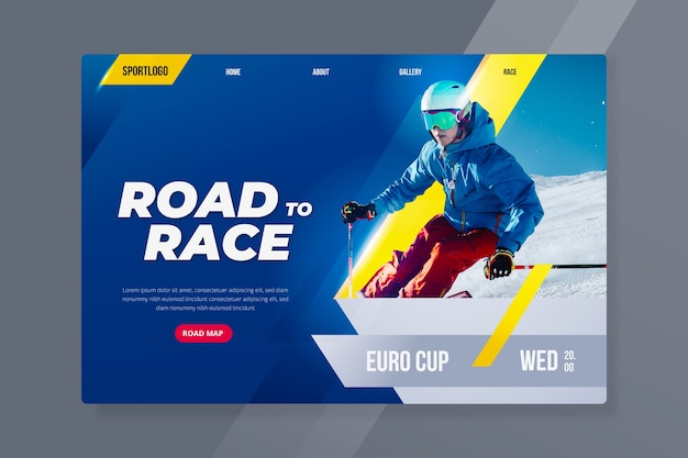 Sport landing page with skiing Free Vector