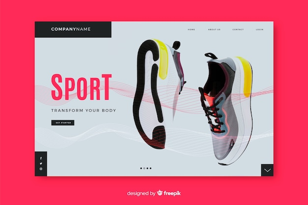 Sport landing page with sneakers Free Vector