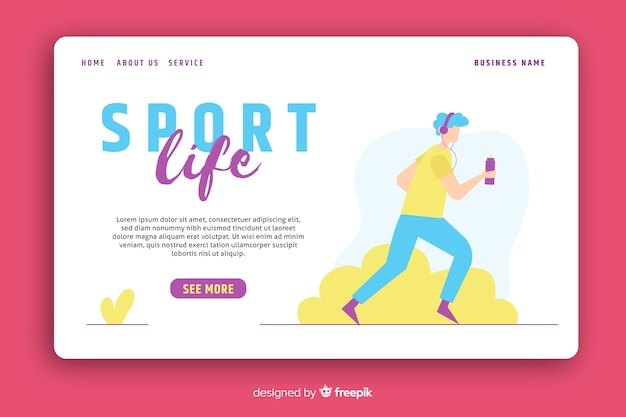 Sport life landing page template Free Vector