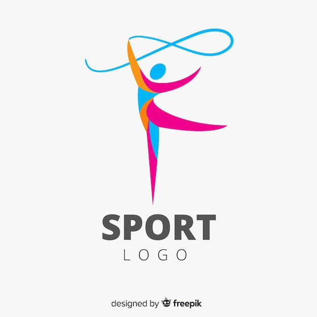 Sport logo template with abstract shapes Free Vector