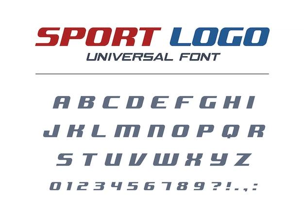 Спорт логотип универсальный курсивный шрифт. быстрый и сильный футуристический, спортивный, динамичный алфавит. технология типографского стиля. буквы, цифры для скоростных автомобильных гонок. современная шрифт abc Premium векторы