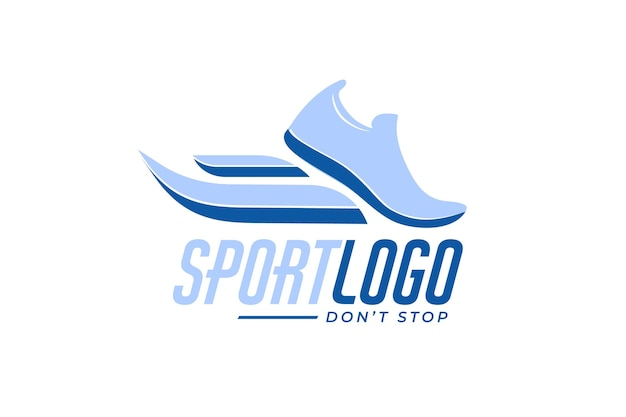 Sport logo with sneakers Free Vector