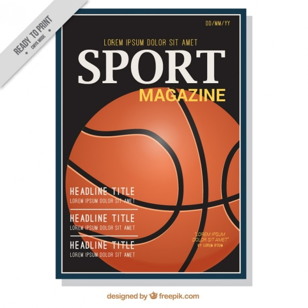 sport magazine cover of basketball vector premium download. Black Bedroom Furniture Sets. Home Design Ideas