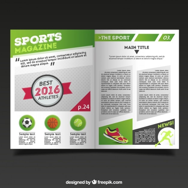 sport magazine template with report vector free download. Black Bedroom Furniture Sets. Home Design Ideas
