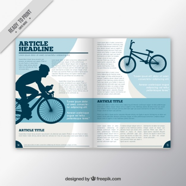 Sport magazine with cyclist Free Vector