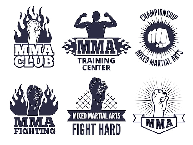 Sport martial labels for mma fighters Premium Vector