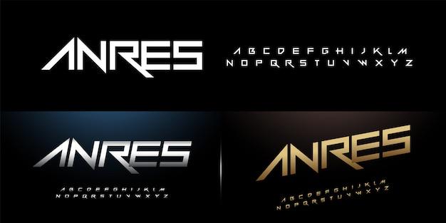 Sport modern alphabet rock font silver and gold Premium Vector