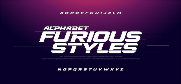 Sport modern fast furious italic alphabet font Premium Vector
