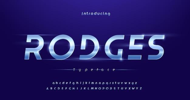 스포츠 현대 미래형 타이포그래피 기울임 꼴 알파벳 글꼴 프리미엄 벡터