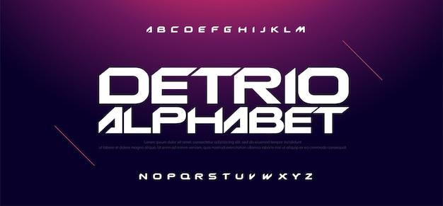 Sport modern technology alphabet and number fonts Premium Vector