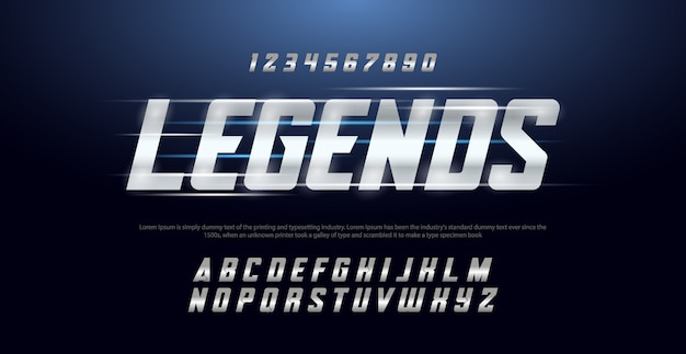 Sport modern typography italic alphabet fonts and number set Premium Vector