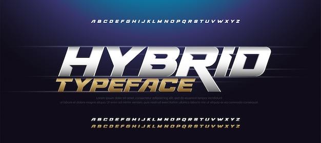 Sport modern typographyイタリックアルファベットフォントセット Premiumベクター
