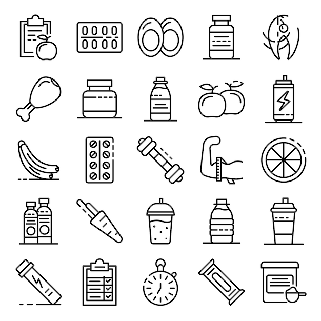 Sport nutrition icons set, outline style Premium Vector