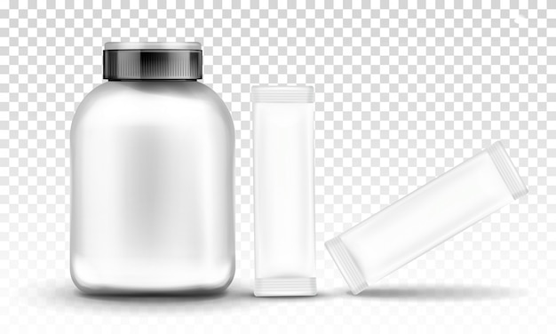 Sport nutrition, supplement container packaging Free Vector