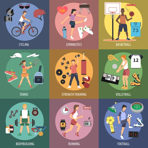 Sport people concepts Free Vector