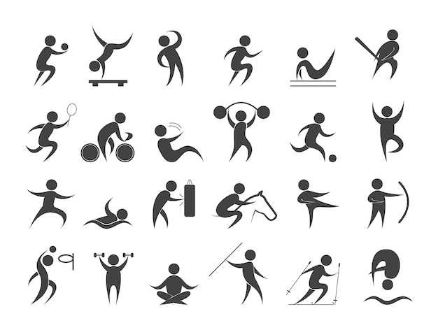 Sport people set. collection of different sport activity Premium Vector