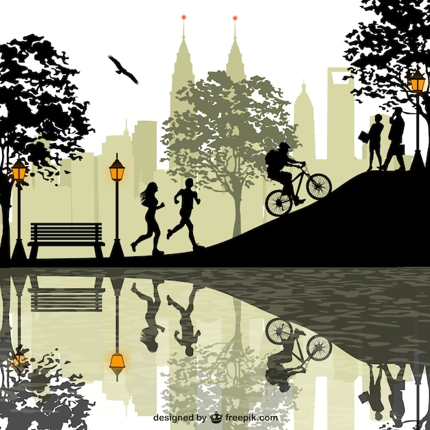 Sport people silhouettes at the park Free Vector