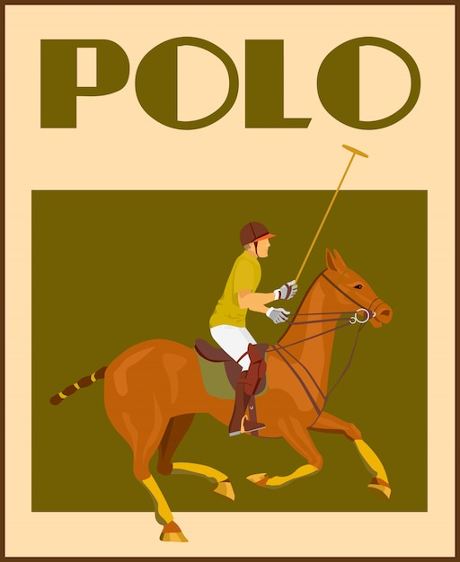 Sport polo club player in helmet with mallet on\ horseback poster vector illustration