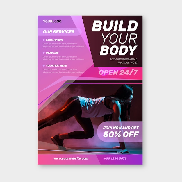 Sport poster design with photo Free Vector