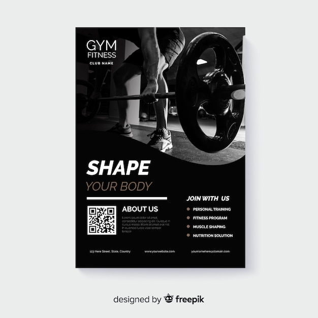 Sport poster template with chiaroscuro photo Free Vector