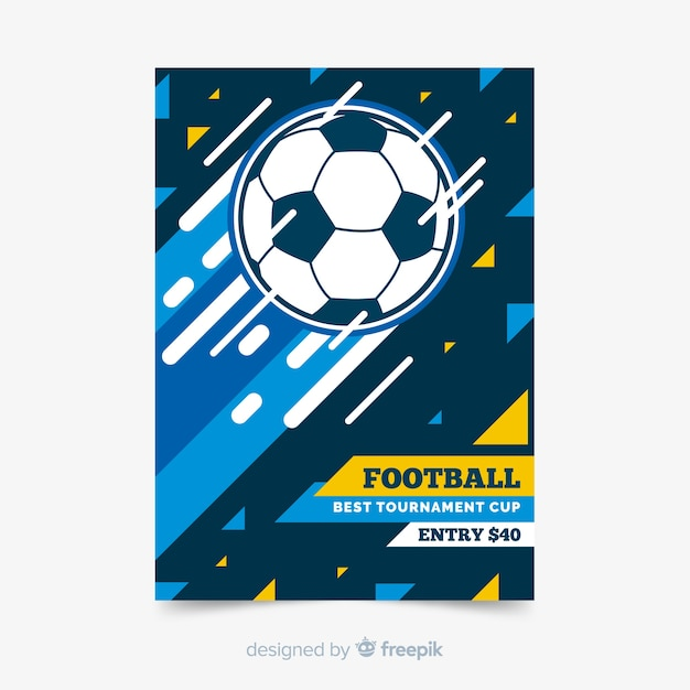 Sport poster template with football ball Free Vector