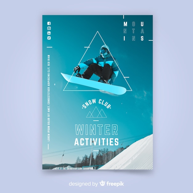 Sport poster template with photo Free Vector