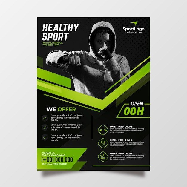 Sport poster template with photo Premium Vector