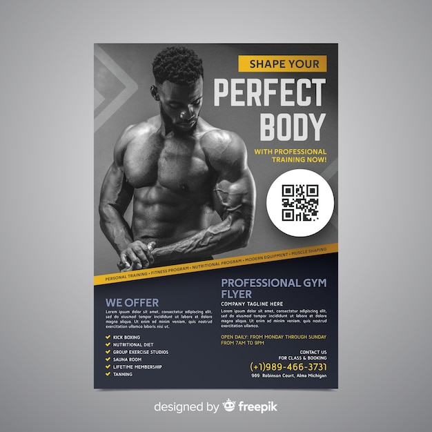 Sport poster template with photo Vector | Free Download