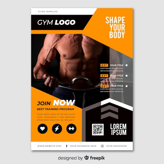 Sport poster with photo template Free Vector
