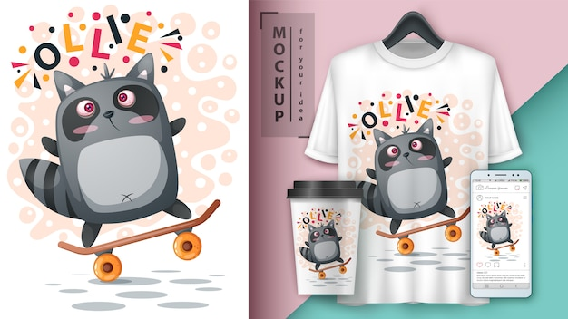 Sport raccoon skate illustration for t-shirt, cup and smartphone wallpaper Premium Vector
