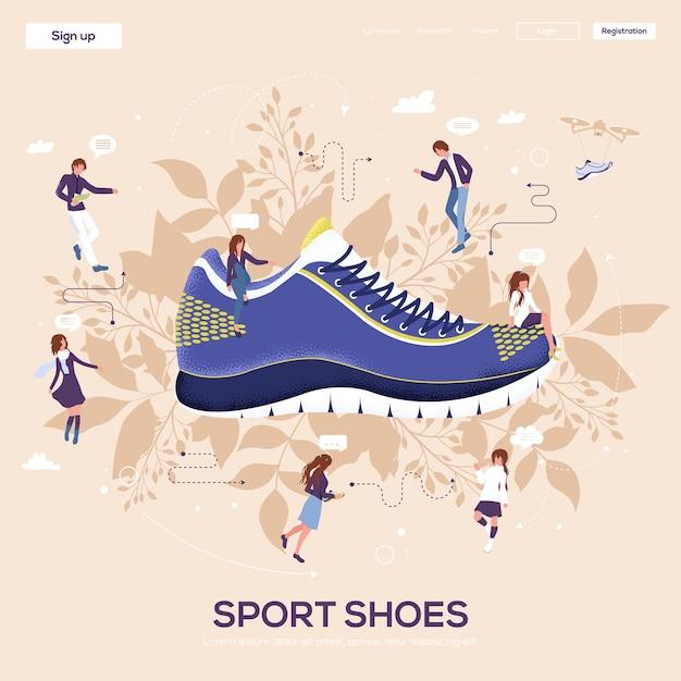 Флаер спортивной обуви, журналы, плакат, обложка книги, баннеры. . Premium векторы