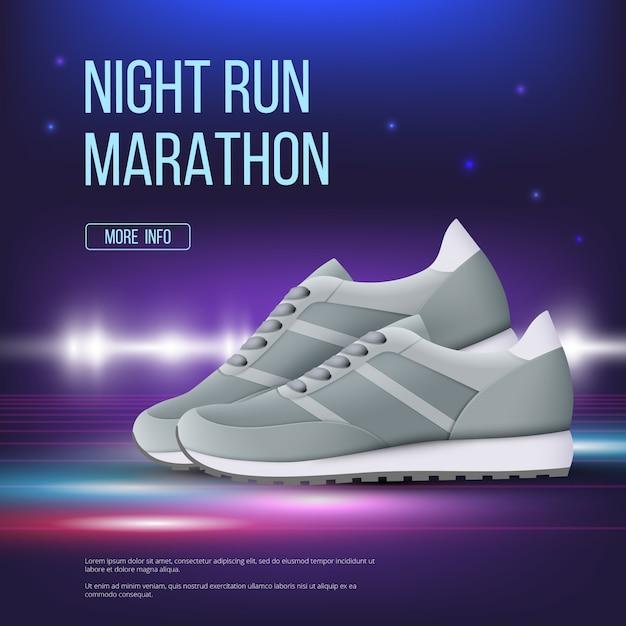 Спортивная обувь постер. бег кроссовок современной модной цветной обуви, рекламный плакат, реалистичный шаблон Premium векторы