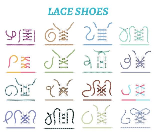 Scarpe sportive sneakers e stivali tecniche di allacciatura 16 icone di raccolta per piedi larghi e stretti isolati Vettore gratuito