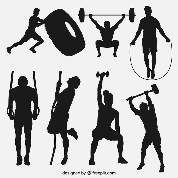 Sport silhouettes doing crossfit Free Vector