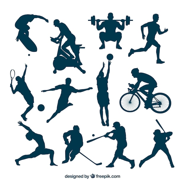 Sport silhouettes in hot actions Free Vector
