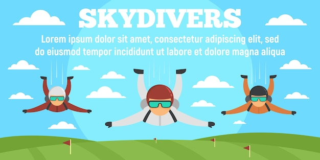 Sport skydivers concept banner template, flat style Premium Vector