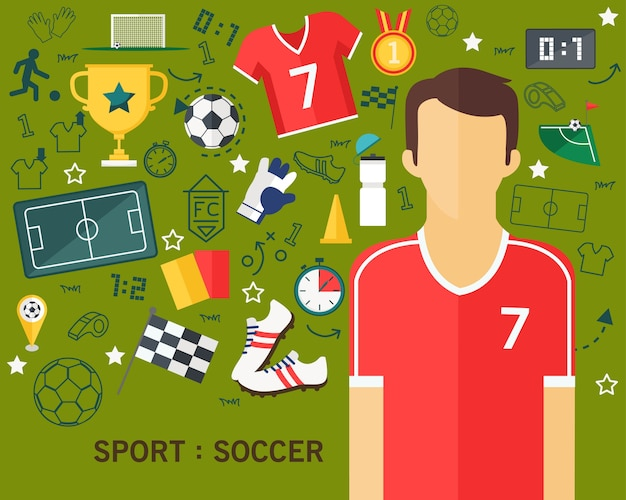 Sport soccer concept flat icons background Premium Vector
