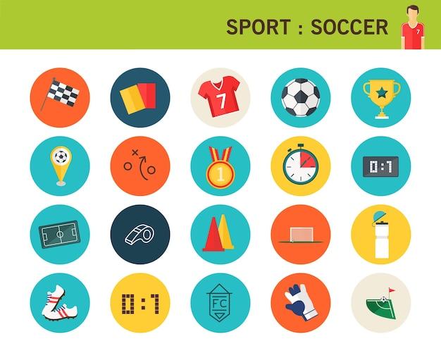 Sport soccer concept flat icons. Premium Vector