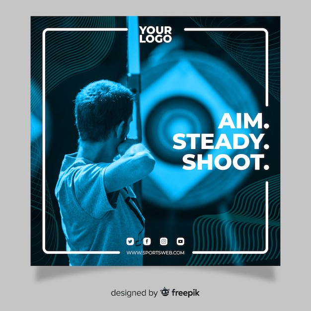 Sport square banner with photo Free Vector