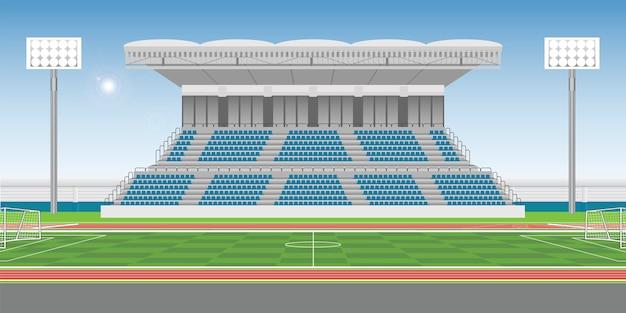 Sport stadium grandstand to cheering sport with soccer field Premium Vector