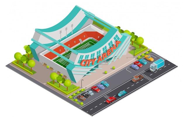 Sport stadium isometric outdoor composition banner Free Vector