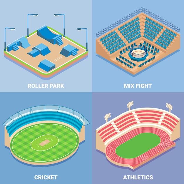 Sport stadium vector flat isometric set Premium Vector