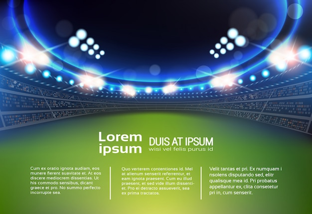 Sport stadium with lights and tribunes Premium Vector