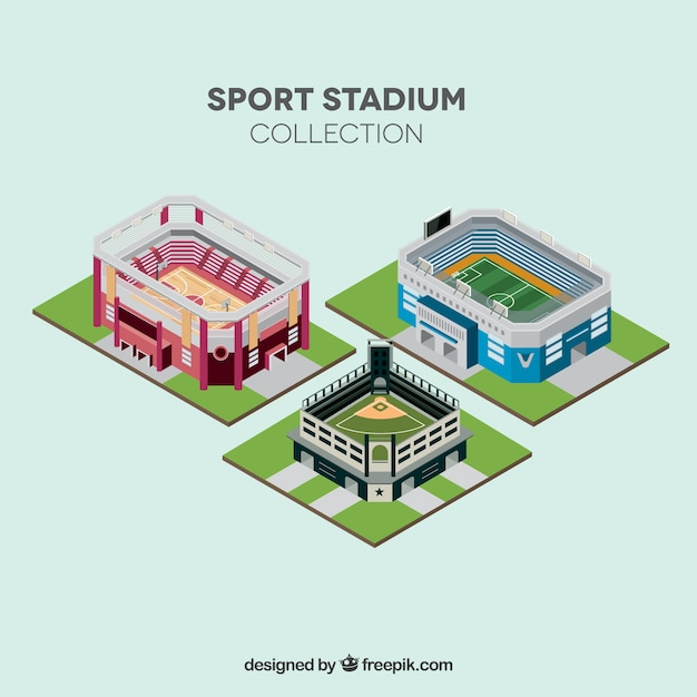 Sport stadiums collection in isometric\ style