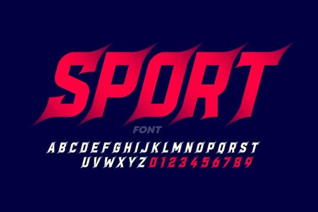 スポーツスタイルのフォント、アルファベットと数字 Premiumベクター