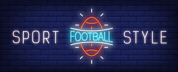 Sport style neon sign. Glowing American\ football ball and bright inscription