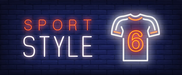 Sport style neon text and t-shirt Free Vector