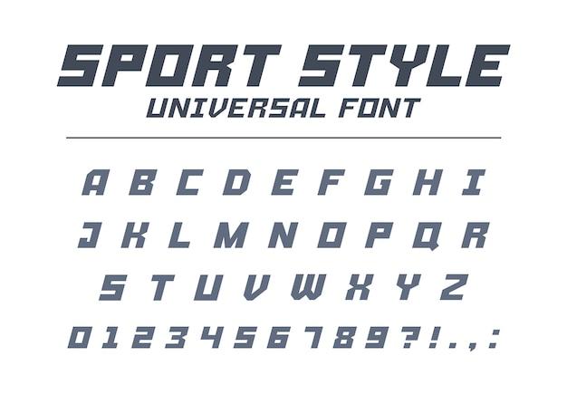 Спортивный стиль универсальный тип шрифта. быстрая скорость, футуристический, технологичный, будущий алфавит. буквы и цифры для военных, промышленных, электрических гоночных логотипов. современный минималистичный шрифт Premium векторы