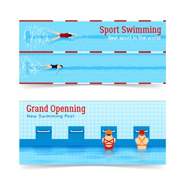 Sport swimming grand openning banners set Free Vector