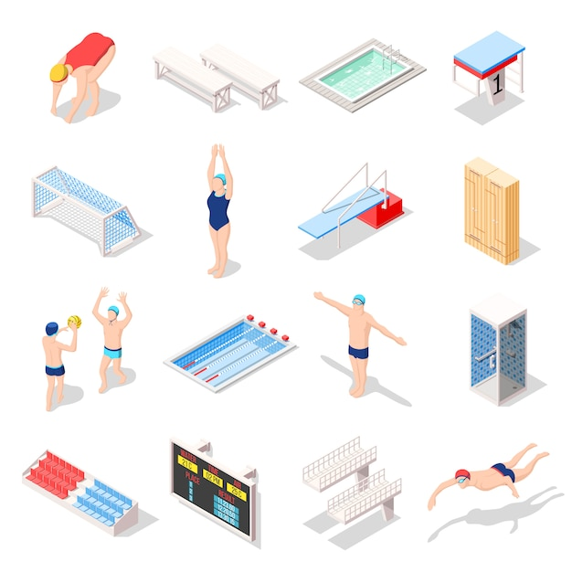 Sport swimming pool isometric icons Free Vector